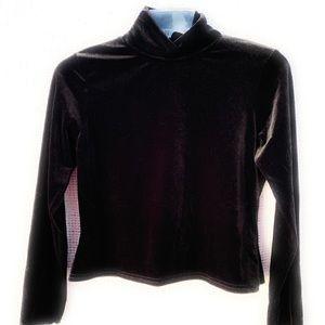 Missguided Velvet Mock Turtleneck Shirt Cropped